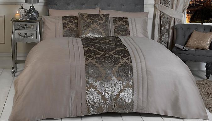 Luxury Mink Damask Duvet Set  Optional Scatter Cushion