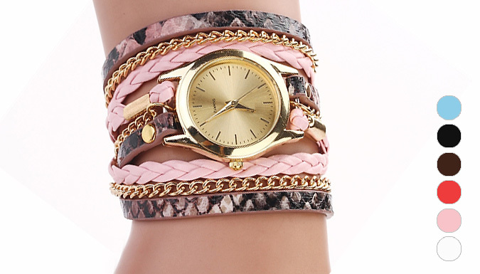Faux-Leather Chain Wrap Watch - 6 Colours