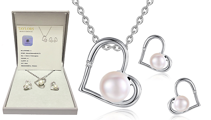 Genuine Diamond and Freshwater Pearl Pendant & Earring Set
