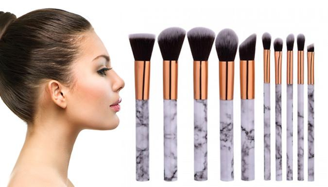 10-Piece Marble-Effect Make-Up Brush Set