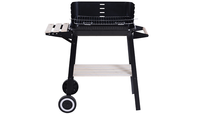 Outsunny Adjustable Charcoal BBQ Grill with Wheels