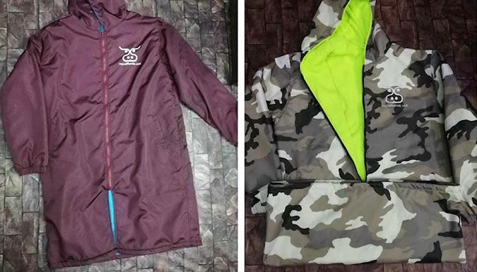 Unisex Fleece-Lined Waterproof Hooded Rain Coat - 6 Designs