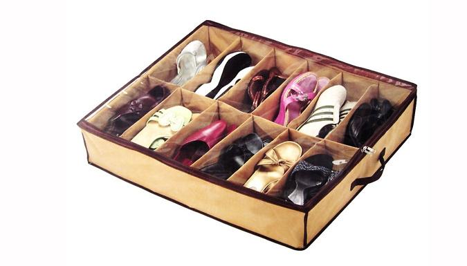 12 Compartment UnderBed Shoe Organiser
