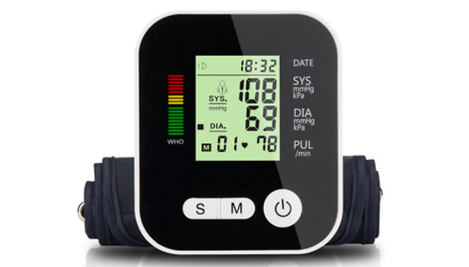 4-in-1 Blood Pressure Monitor with LCD Display - 2 Colours
