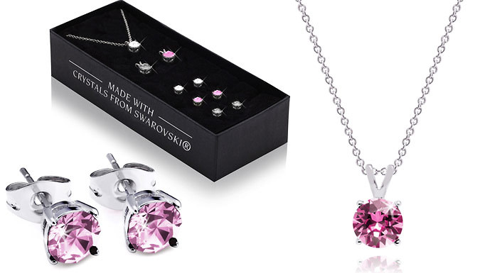 Set of 3 Round Earrings and Pendants Made With Crystals From Swarovski