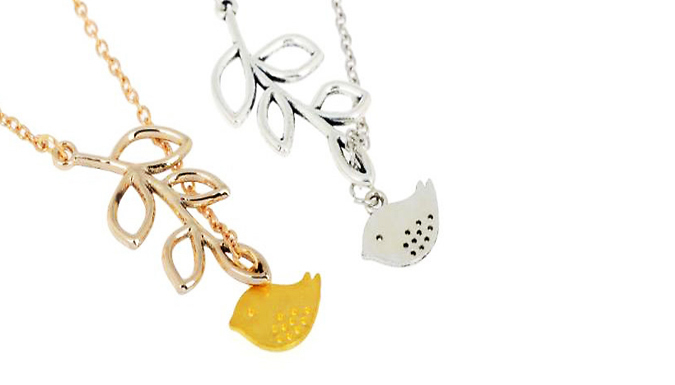 Silver or Gold Plated Bird Leaf Charm Necklace