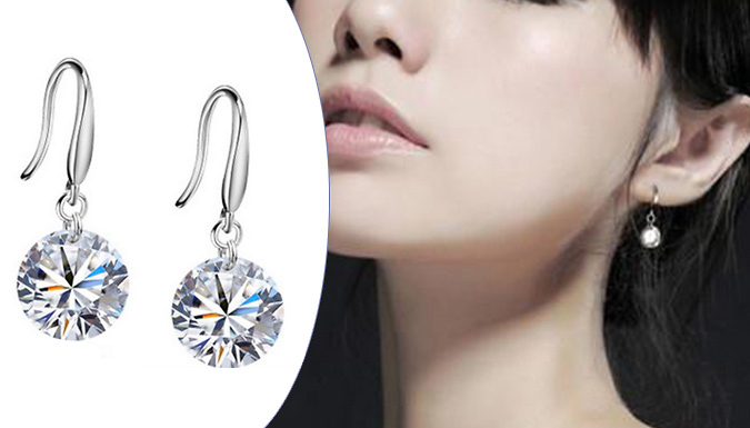 One or Two Pairs of 8mm Simulated Crystal Drop Earrings
