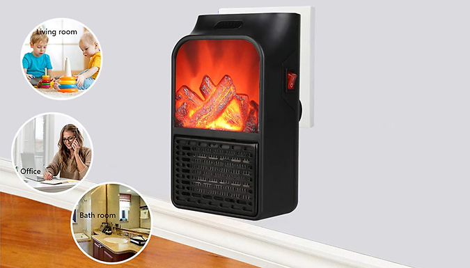 900W Mini Electric Wall-Outlet Flame Display Heater