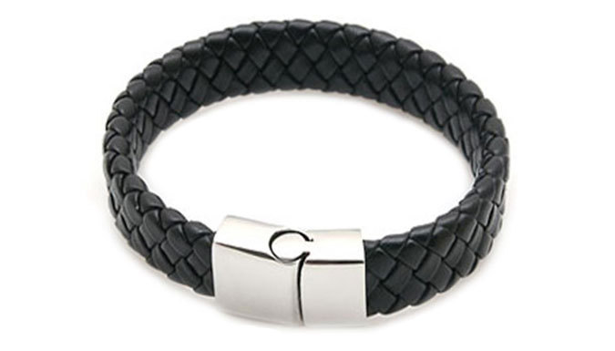 Mens Bonded Leather Braided Bracelet