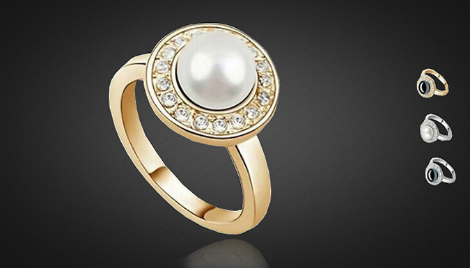 DDDeals - Crystal Encrusted Faux Pearl Ring