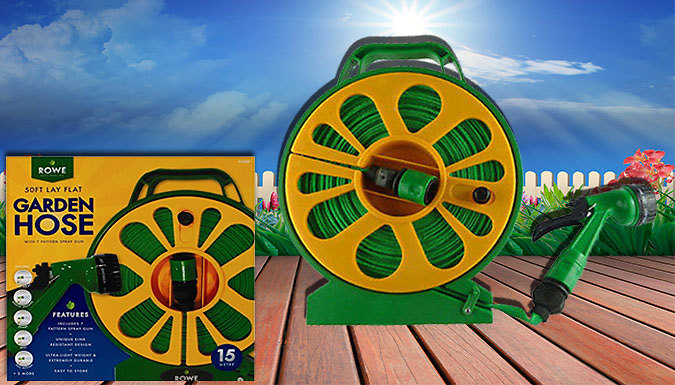 50ft Flat Hose with Reel and 7 Style Spray Gun