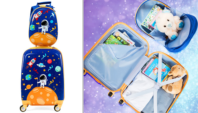 2-in-1 Kid's ABS Luggage Set from Costway