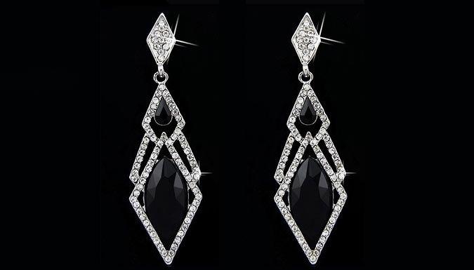 Diamond Shape Crystal Drop Earrings