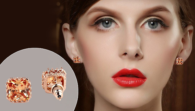 Gold Plated Amber Crystal Earrings