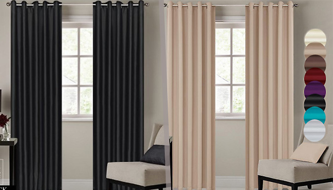 Blackout Curtains With Ring Top Eyelets – 7 Sizes and 8 Colours ...