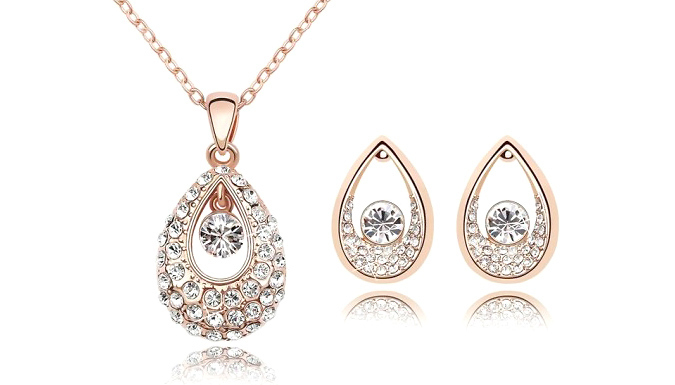 Rose Gold Plated Sweet Cherry Necklace and Earrings Set