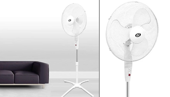 EXPRESS DELIVERY! 16-Inch 3-Speed Oscillating Pedestal Fan - 1 or 2