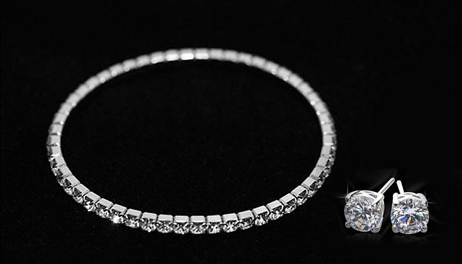 Tennis Bracelet and Earrings Set