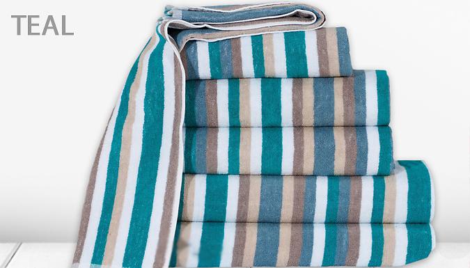 100% Cotton Victoria Stripe Towel Set - 6 Colours