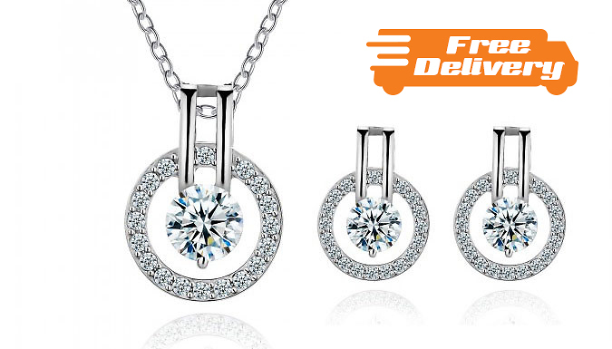 DDDeals - 'Halo' 3.5ct Simulated Sapphire Jewellery Set - Free Delivery!