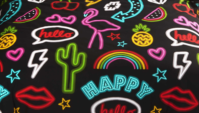 Compare retail prices of 'Be Happy' Quote Neon Duvet Set - 3 Sizes to get the best deal online