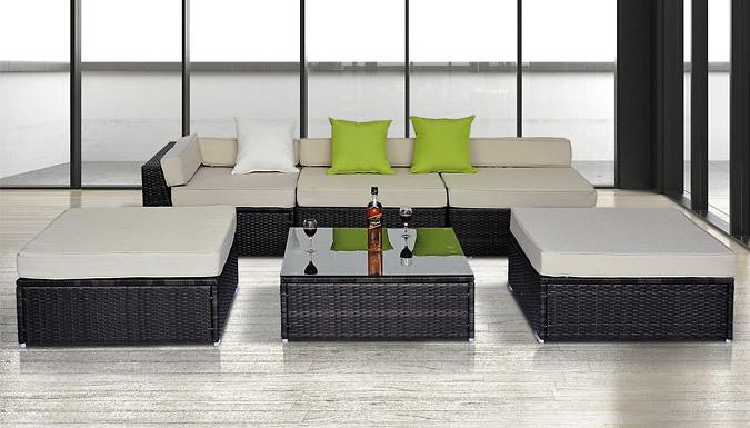 6Piece Rattan Sofa and Coffee Table Set