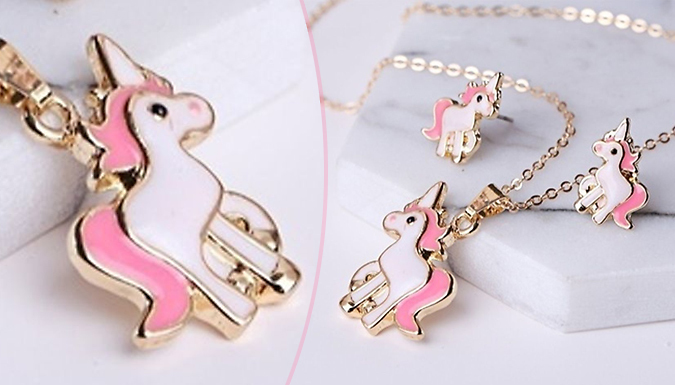 Unicorn Necklace & Earrings Set - Pack of 1 or 2