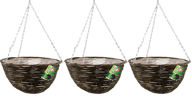 Set of 3 Hanging Baskets – Metal or Rattan (£6.99)