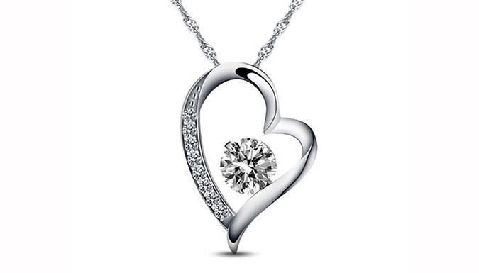 Swarovski Moon & Heart Crystal Charm Necklace