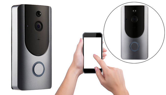 3-in-1 Smartphone-Connected Video Doorbell With Intercom & Battery - 16GB or 32GB SD Card