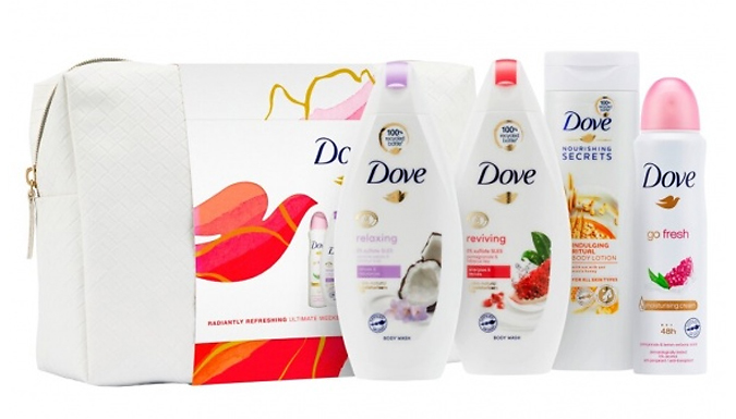 Dove 'Radiantly Refreshing' Ultimate Beauty Bag 5-Piece Giftset - 1, 2, 3 or 4-Pack from GoGroopie