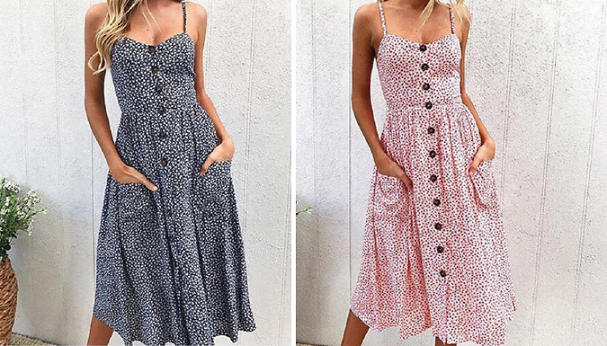 Floral Button Up Summer Day Dress - 4 Sizes & 2 Colours