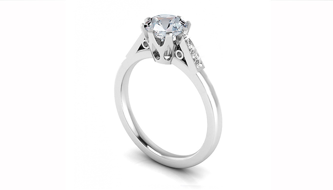 1.06ct Lab Created Sapphire and Natural Diamond Ring