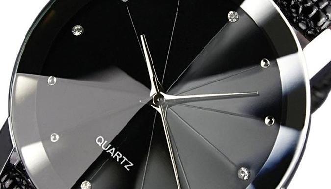 Men's Luxury Faux Leather Quartz Watch - Black or Brown