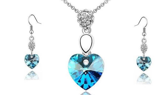 Colourful Crystal Heart Jewellery Set