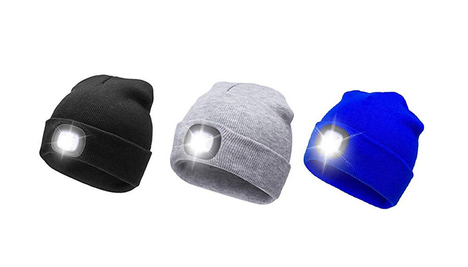 Rechargeable LED Headlight Beanie Hat - 3 Colours from Go Groopie ... 178898df2948