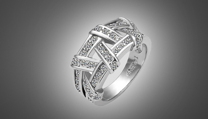 18K White Gold Plated Crystal Weave Ring