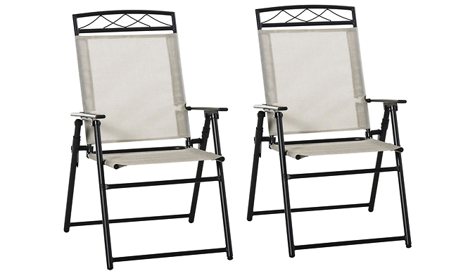 Outsunny Set of 2 Foldable Fabric Patio Chairs - 2 Colours