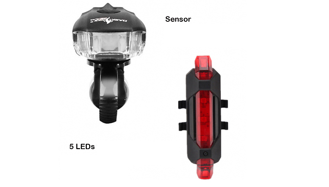 USB Charge 2pc Bike Light Set - Front and Rear Lights!