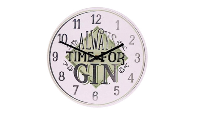 Cheapest price of 'Always Time for Gin' Novelty Wall Clock in new is £6.99