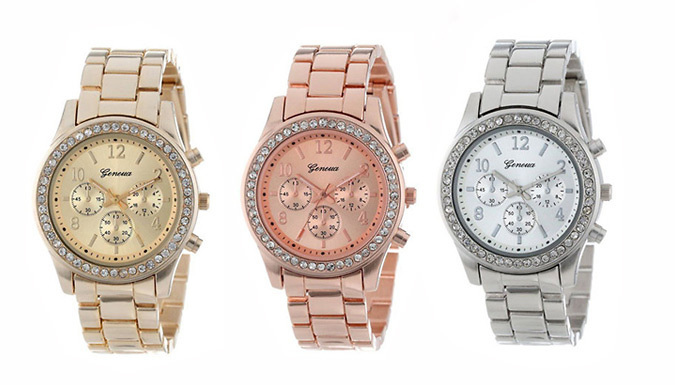 Rose Gold, Silver or Gold-Coloured Chunky Simulated Crystal Watch
