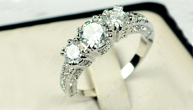 18K White Gold Plated Crystal Ring