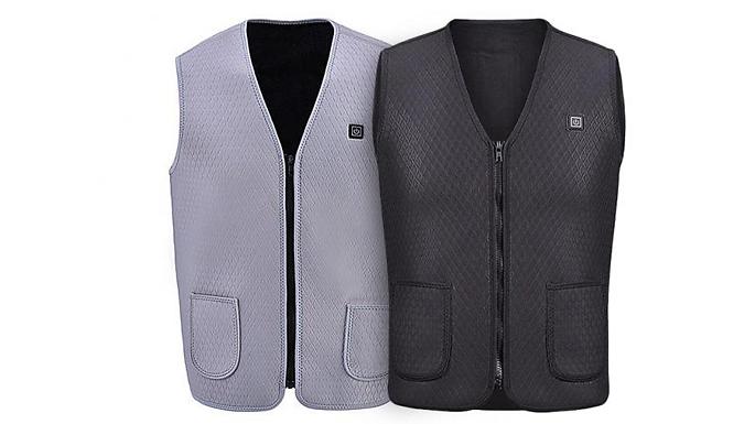 USB Electric Washable Heated Vest Jacket - 2 Colours & 5 Sizes