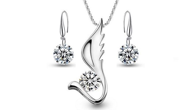 18K White Gold-Plated Star Wings Duo Set
