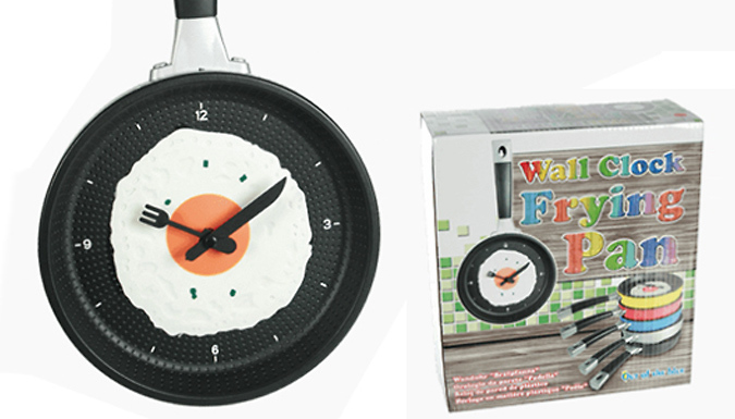 Compare retail prices of 'Frying Pan & Egg' Novelty Wall Clock - 5 Colours to get the best deal online