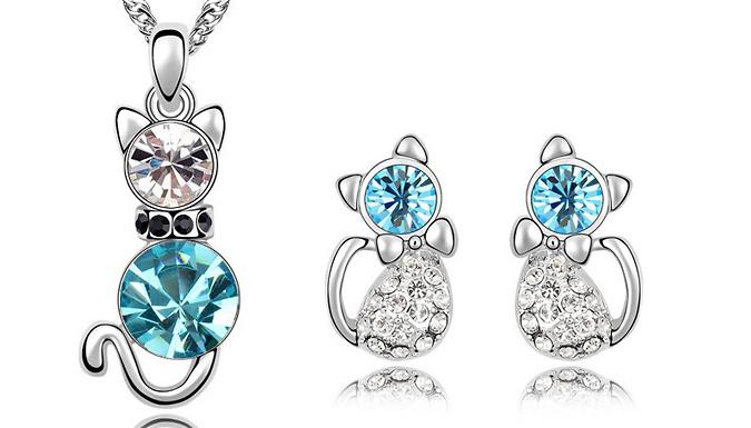Cat Necklace & Earrings Set