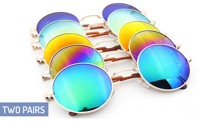 Two Pairs of Vintage Round Sunglasses; 6 Colours