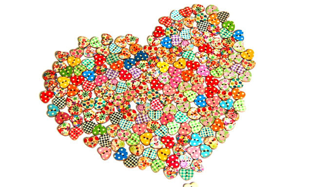 50 or 100 Heart Shaped Wooden Buttons