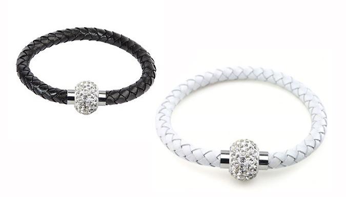 Set of 2 Faux Leather Crystal Bracelets