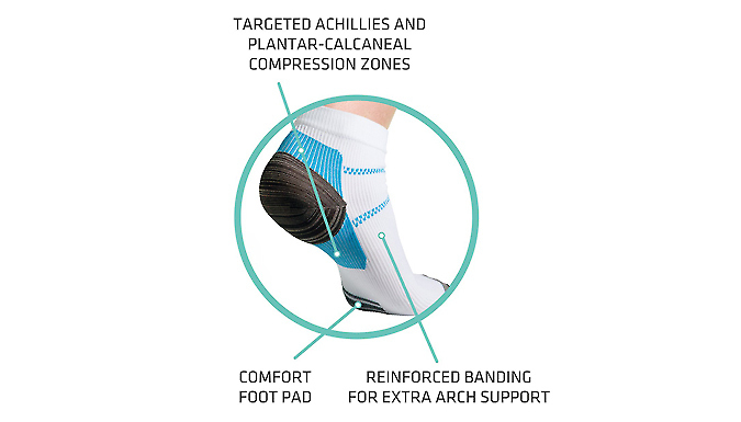 Ankle Compression Plantar Socks - 5, 10 or 20 Pairs